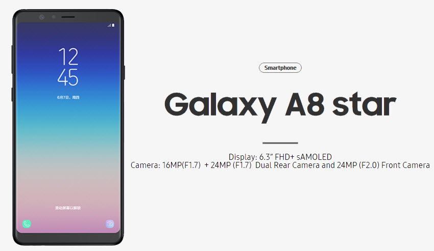Samsung Galaxy A8 Star With Infinity Display